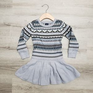 GAP long sleeve fair isle flared sweater dress